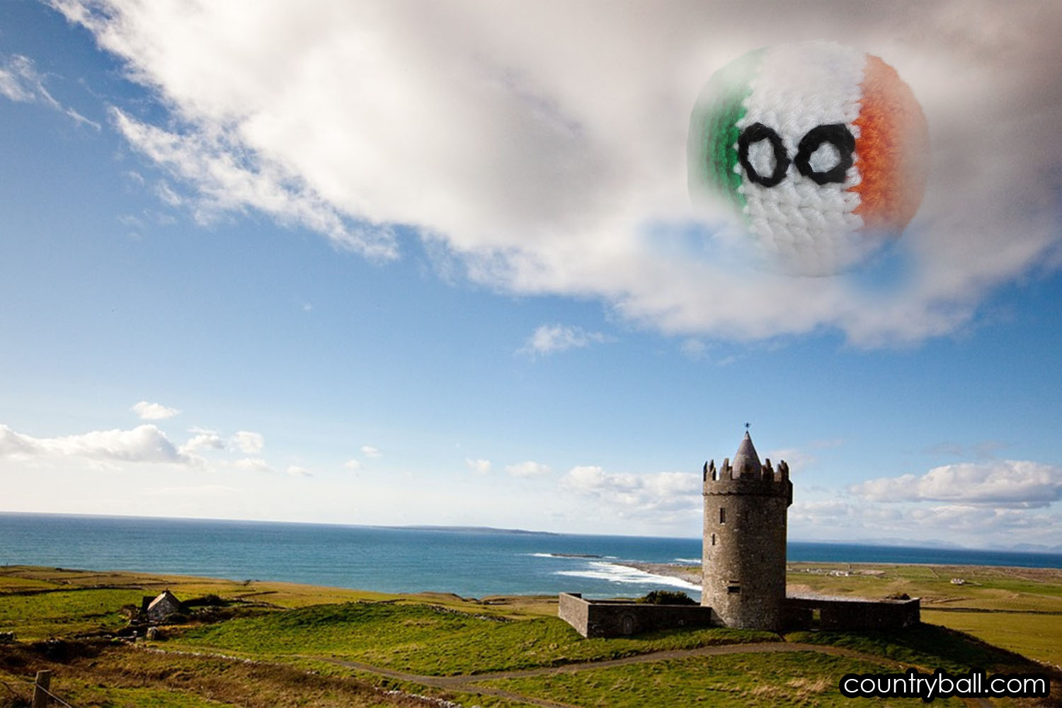 Irelandball watching over a beautiful Irish Landscape