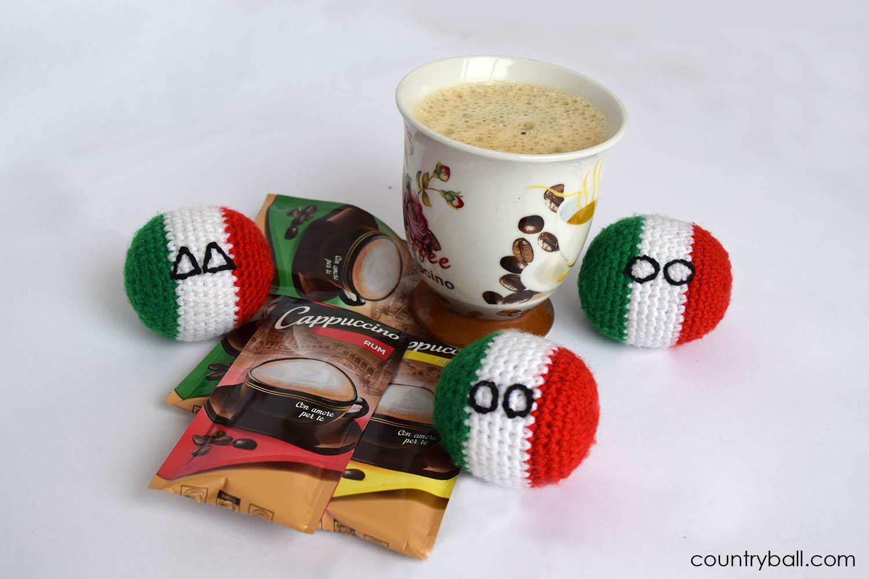Italyball Enjoying a Cup of Hot Cappuccino