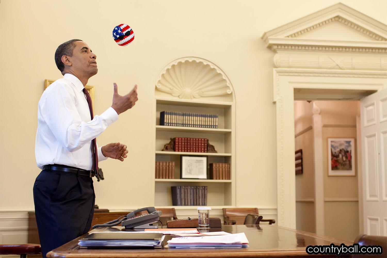 Barack Obama with his USABall