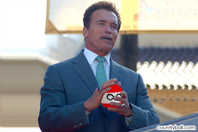 Arnold Schwarzennegger with his Austriaball