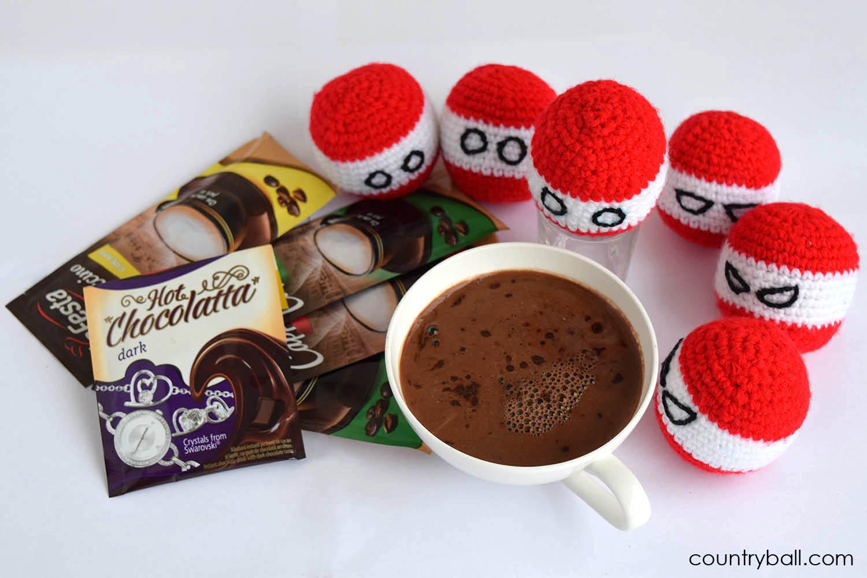 Austriaball Enjoying Hot Chocolate