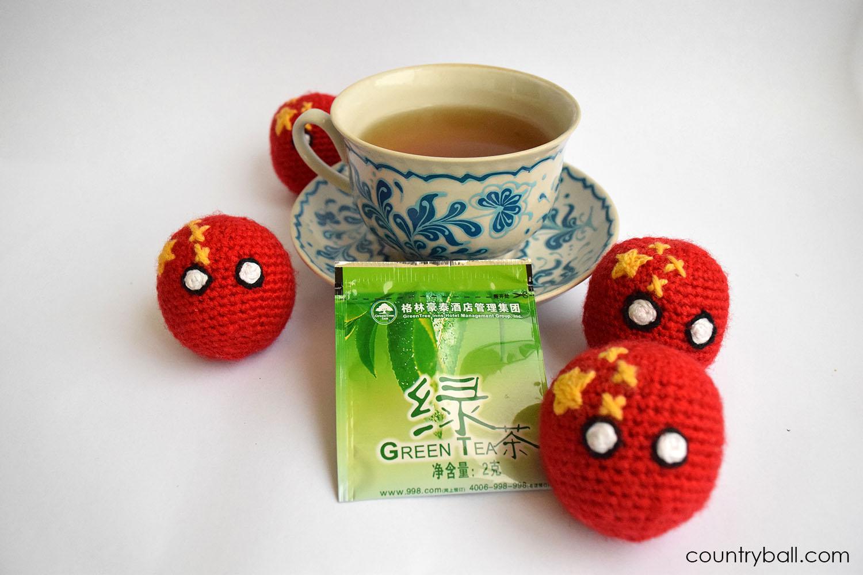 Chinaball drinking Green Tea