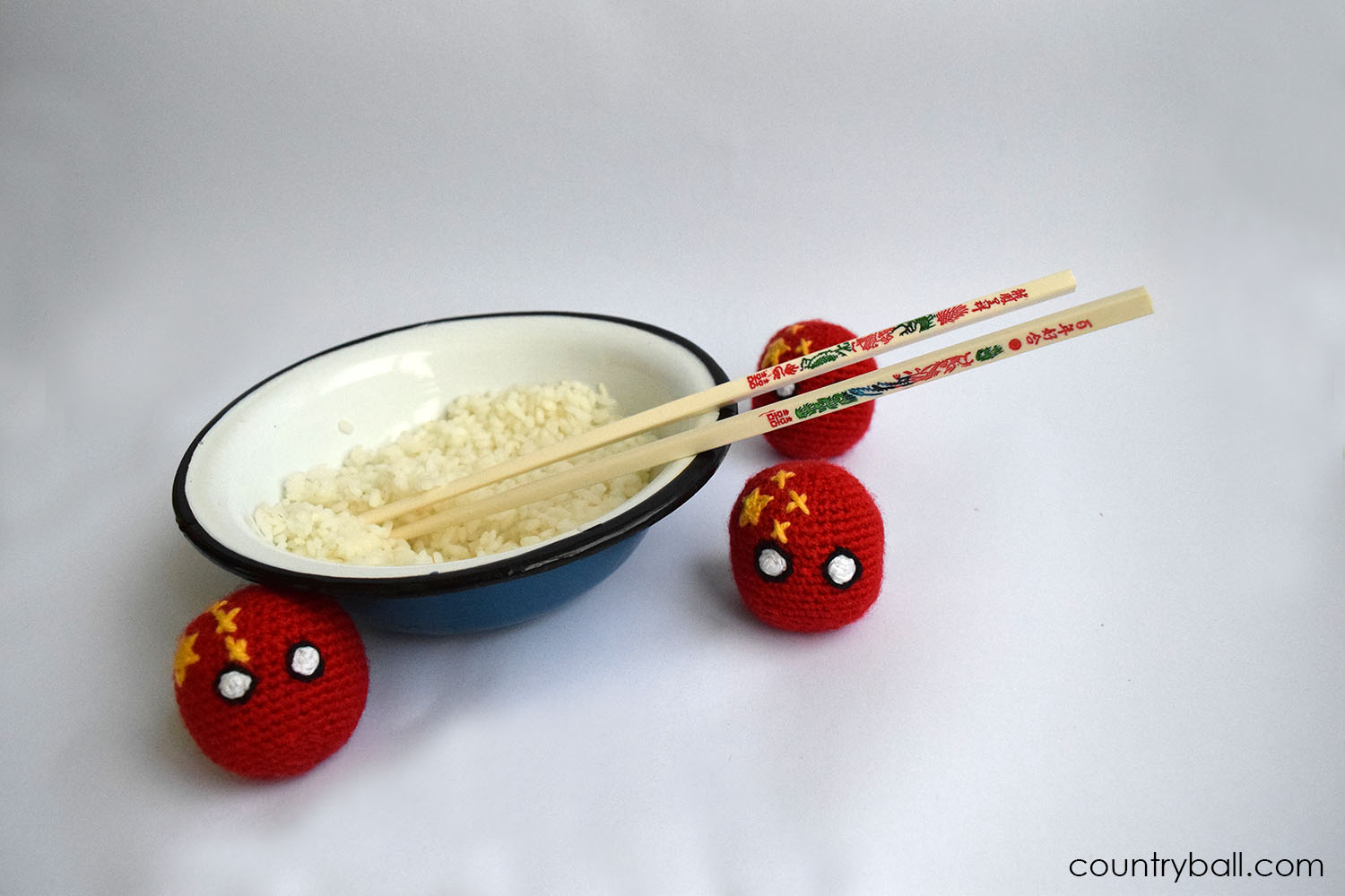 Chinaball with a bowl of Rice
