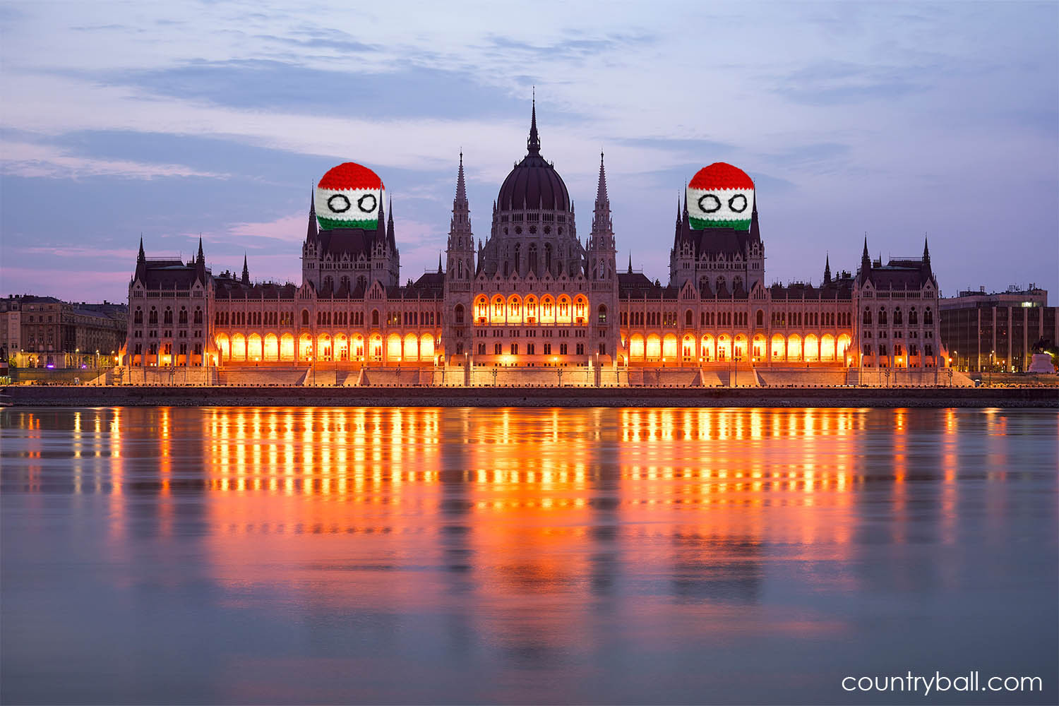 Hungaryballs and the Parlament in Budapest