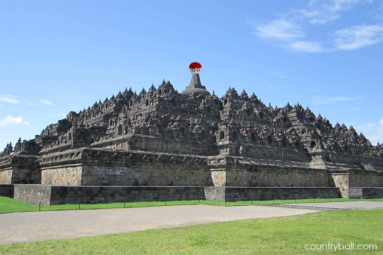Indonesiaball at Borobodur Temple