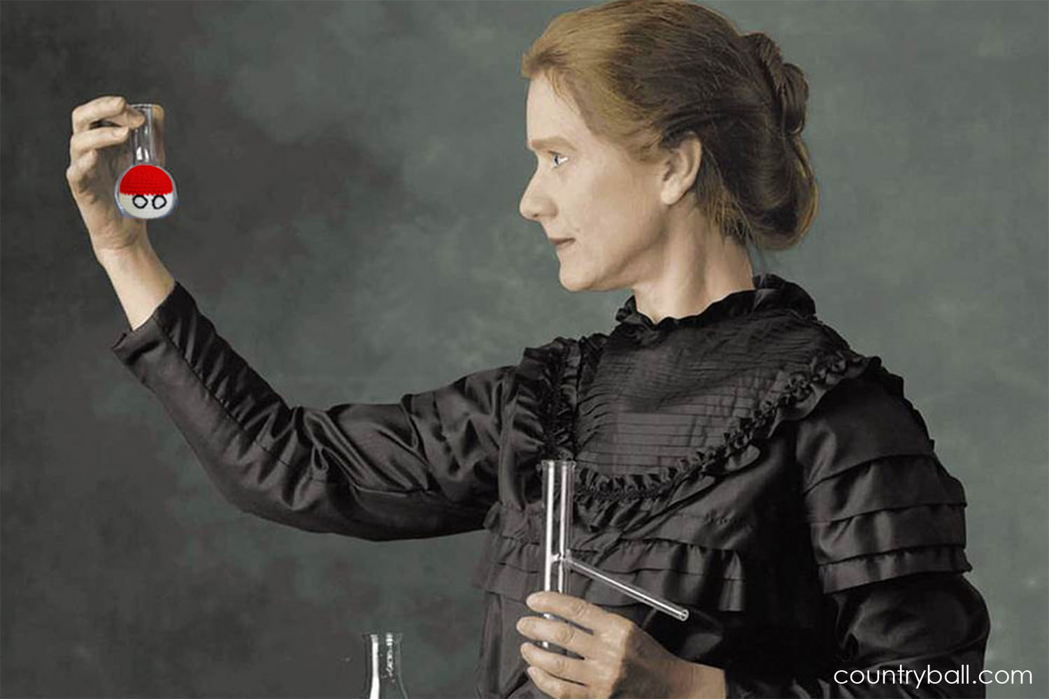 Marie Curie experimenting with a Polandball