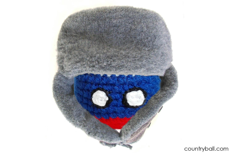 Russiaball wearing an Ushanka