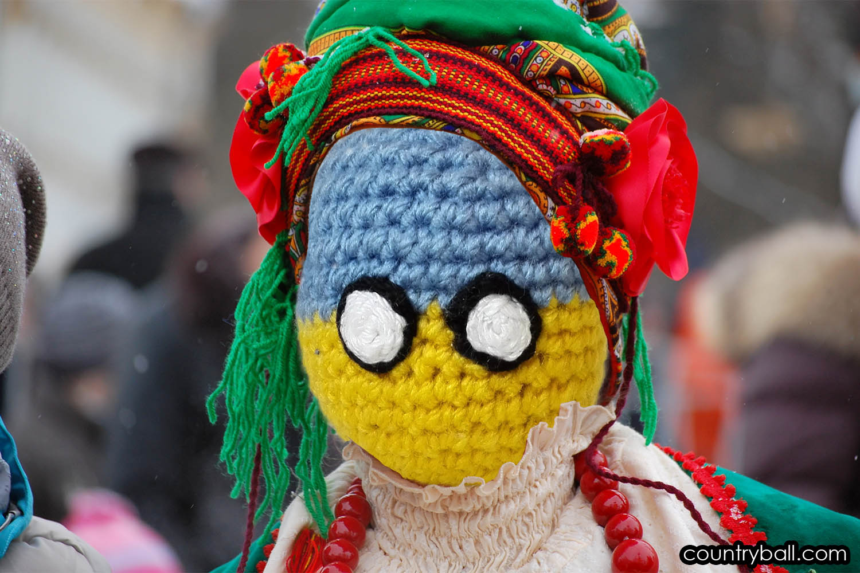 Ukraineball in Folk Clothes