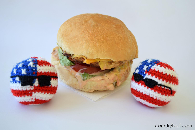 USABall preparing to eat a Hamburger